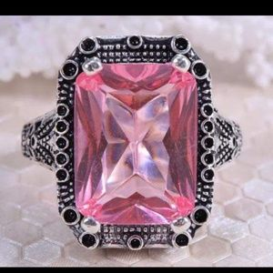 Jewelry - Sterling silver huge pink stone ring  Size 8